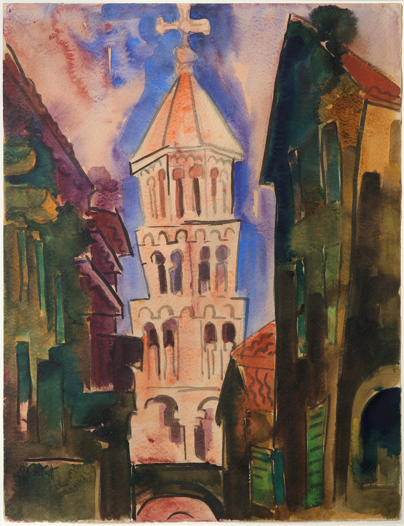 Stadtansicht mit Kirchturm, 1925 Watercolour and India ink on paper 63,5 x 49 cm