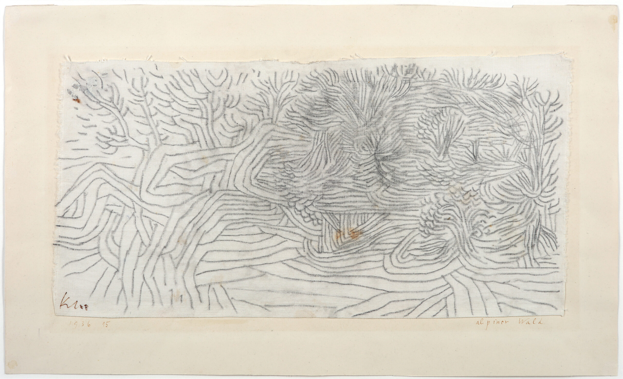 Alpiner Wald, 1936, Charcoal on cotton on the artist's mount, 20,9 x 40,9 cm